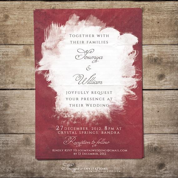 Burgundy Wedding Invitation Watercolor Wedding Invitation