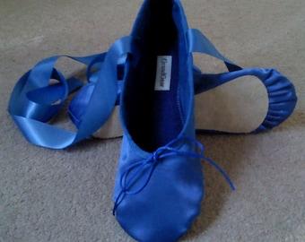 Royal Blue Satin Ballet Shoes - Full sole or Split sole - Adult sizes
