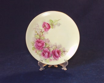 Antique Hand Painted Plate with Roses, Signed