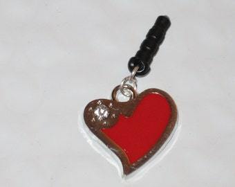Heart with Diamond Cell Phone Dust Plug Charm Attached