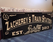 Family Electric Train Station Sign Personalized Wooden Carved Established Date Housewarming Birthday Gift Custom Engraved Plaque Poplar 701
