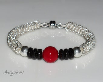 "Bracelet ""Easy to wear""-coral and hematite/ Silver plated bracelet black & red"
