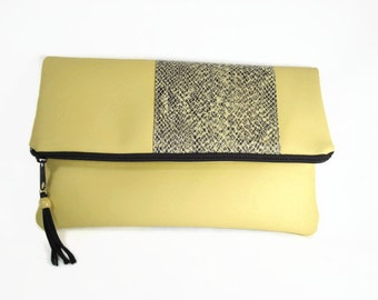 Yellow Leather Zip Clutch, Yellow Leather Fold Over Clutch With Faux Snakeskin, Flap Over Yellow Leather Clutch, Snake Skin Zipper Clutch