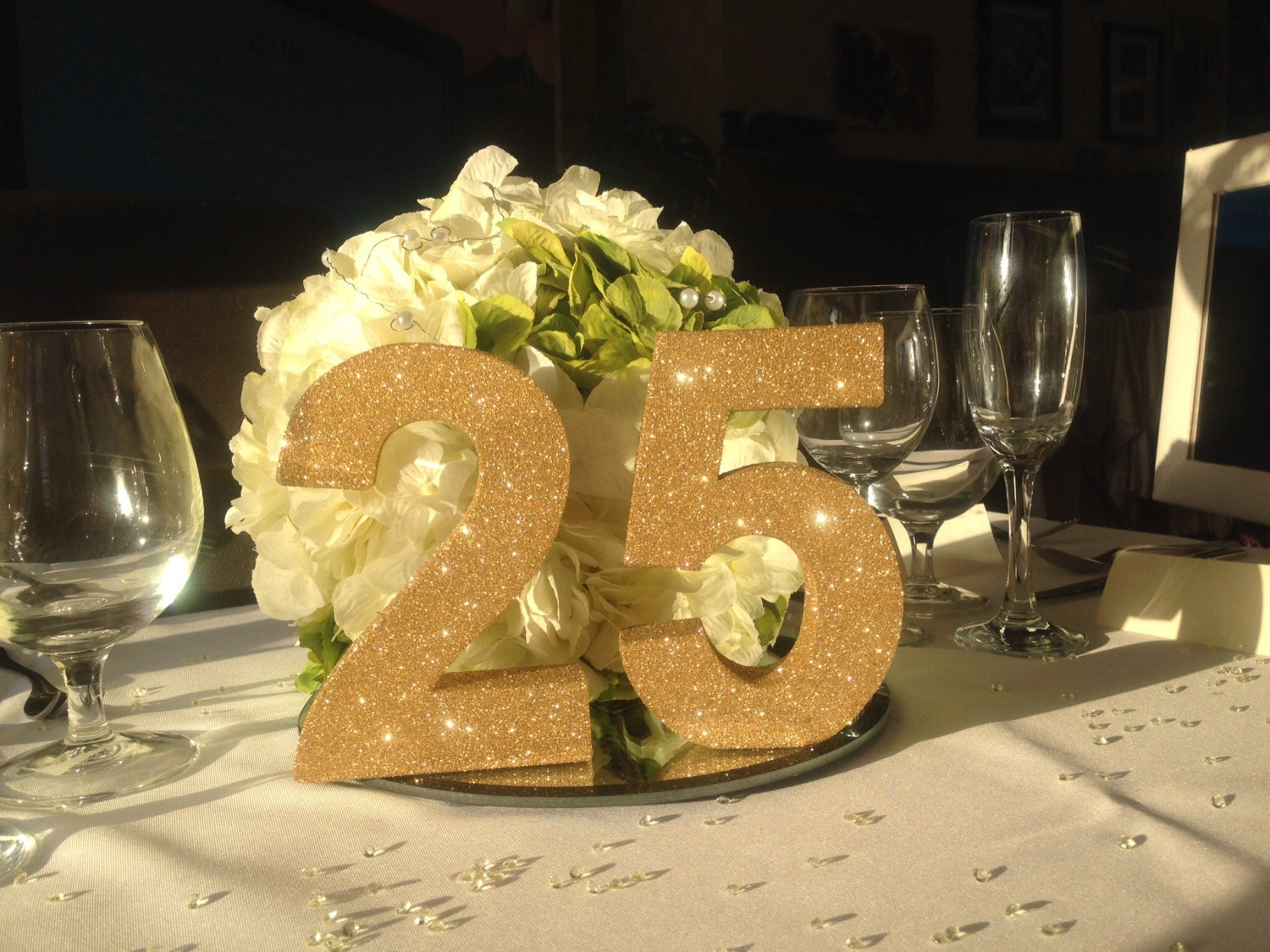 Gold glitter 25th wedding anniversary decoration party for 25th wedding anniversary decoration