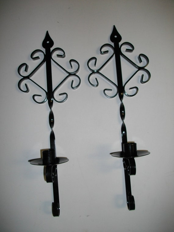 Wall Sconces Wrought Iron : Vintage Wrought Iron Wall Sconces Gothic by YardSaleRescues