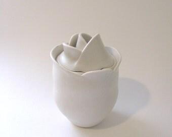 Botanical / flower white silky semi gloss finish lidded Jar / ceramic container / porcelain vessel / by Echo of Nature Yumiko Goto