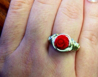 Sterling silver plated wire wrapped red rose ring size 7