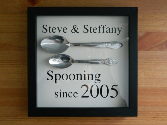 8 Year Wedding Anniversary Gifts For Her: Spooning Since Wall Hanging Personalized W/ Names & Year