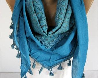 Fashion Scarf,Blue Scarf, Cotton Scarf  -Elegant Scarf-Gift Scarf