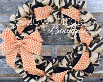 Fall Burlap Wreath - Black and Orange Chevron Burlap Wreath- Halloween Wreath- Front Door Wreath, , Autumn Wreath, Fall Wreath