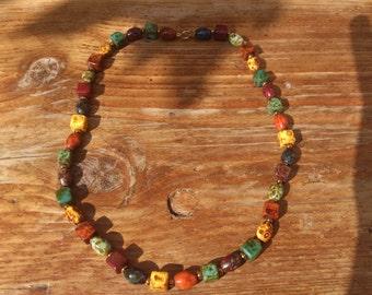 vintage single strand murano glass bead necklace