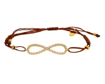 Gold Infinity CZ Brown Cord Bracelet