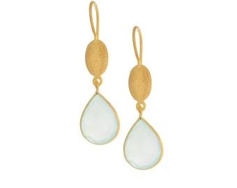 Gold Teardrop Stone Earrings