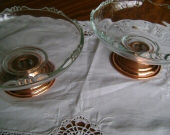 Vintage Copper Dishes Set of 2 Candy Dish Candle Holder
