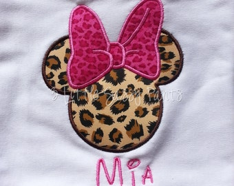 Minnie Mouse Embroidered Shirt- Personalized Custom Shirt- Mouse Ears Shirt- Disney Vacation- Applique-Leopard Pink