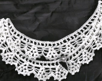 White Cotton Crochet Lace Collar