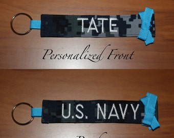 Custom Navy Keychain with Personalized Name