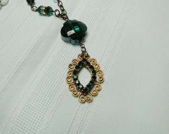 Emerald Green and Gold Pendant Necklace