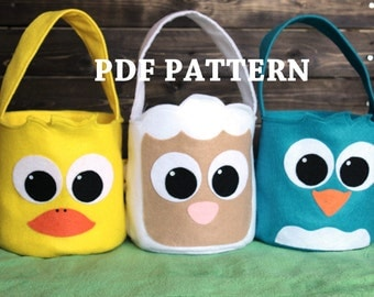 PDF Pattern Easter Basket Lamb, Chick, and Duck