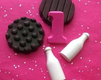 Milk and Cookies Crayon Loot / Goody / favor bags -  set of 10