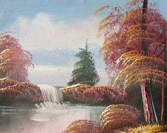 Quiet Autumn Lake and Waterfall Original Oil