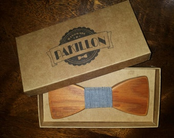 PAKILLON mod. Jacopo-wood bow with knot-tie tie fabric bowtie fashion hipster