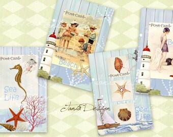 Blue Sea - Post Card -Vintage Illustration -Digital CollageSheet -set of 4 cards - Printable Download Large Image