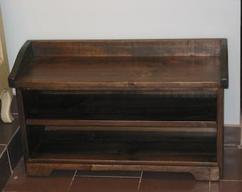 Shoe Cubby  Bench / Dark Walnut Storage Bench /  Wood Storage Bench / Shoes Rack / Entry Way Storage