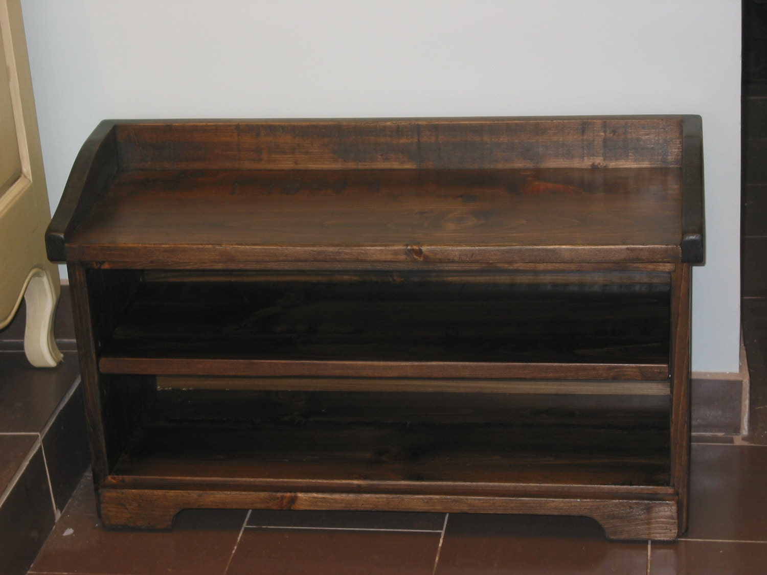 Shoe Cubby Bench Dark Walnut Storage Bench Wood Storage