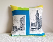 SALE Perth cushion cover Retro tea towel with mod line graphics