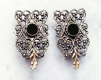 Art Nouveau Earring.Art Nouveau Cuff Earrings. Art Nouveau Earrings Silver & Gold.Black Onyx Art Nouveau Earrings.Valentines. FREE SHIPPING!