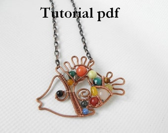 Wire wrap Tutorial, Mosaic pendant  Rainbow fish  for intermediate