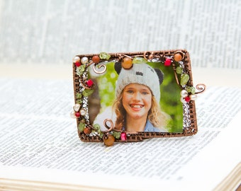 Small photo frame, rectangular copper photo frame with gemstone,  Christmas gift, blossom small photo frame.