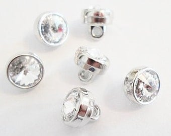 6 Swarovski 7mm Buttons, Crystal with shank