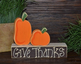 Thanksgiving Decor Block Set-Give Thanks Block Love Set-home decor primitive block gift fall wood sign Pumpkin Sign Thanksgiving Decor