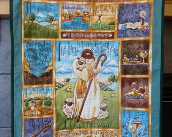 The Lord Is My Shepherd 23rd Psalm quilted wall hanging panel