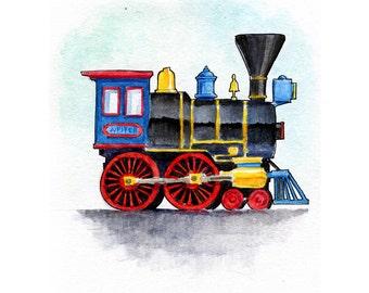 Jupiter Steam Locomotive Watercolor