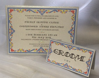 Mexican travel holiday inspired wedding invite sample marriage bride groom
