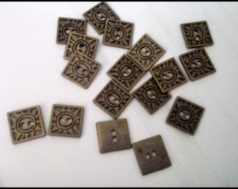 Square Metalic Buttons  aged pewter finish Quantity 25 Buttons