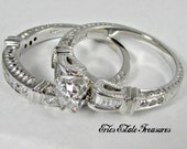 RESERVED for Everett down payment only 14K White Gold Vintage Artsy .65 ct Round Cut Ladies Size 7 1/4