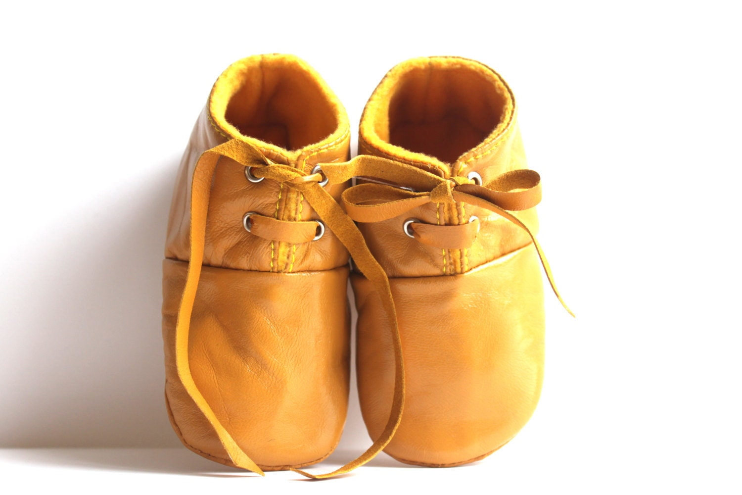 6 12 Months Slippers Baby Shoes Lamb Leather mustard yellow