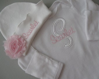 Personalized Baby Pink Accent Layette GOWN Beanie HAT SET with Mitten Cuffs and Lap Shoulder, Shabby Chic Flower - Monogrammed Layette Set