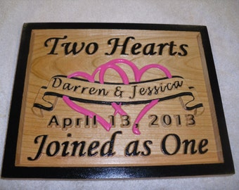 """Custom Wedding / Anniversary plaque """"Two Hearts"""" Personalized wedding gift anniversary wood plaque customized carved unique gift"""