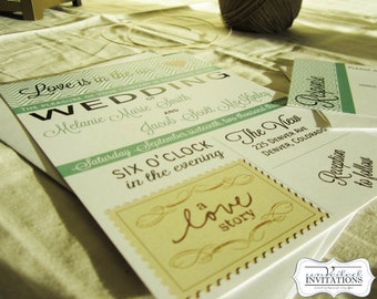 Wedding invitation set - Love is in the Air