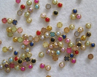 100pcs Cute 4mm Mix Color Pearl with Gold Outside Decoration Nail Art decoration OD-114