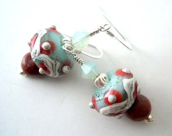 Lampwork Glass Earrings, Swarovski Crystals, Sterling Silver Earrings, Red barn marble, Organic lampwork earrings