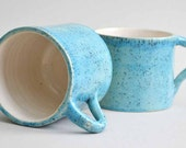 READY FOR SHIPMENT  - Giant Earthenware Mug In Turquoise with Tiny Black Speckles