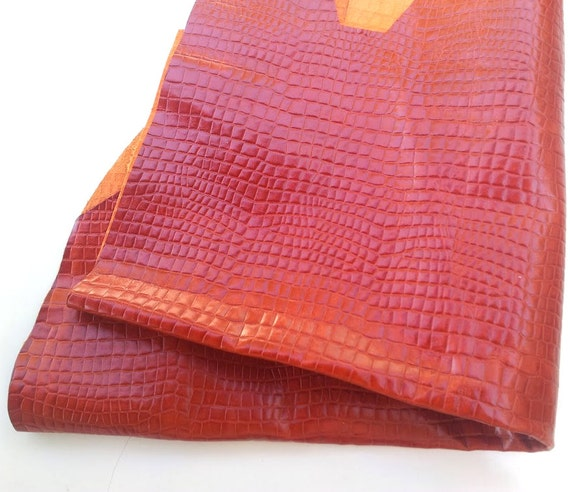 Items similar to leather piece crocodile brown skin sheet for Leather sheets for crafting
