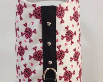 Dog Harness with Little Pink Skulls