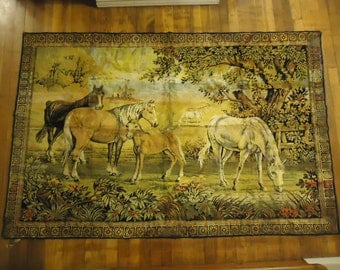 Vintage Italian Horse Tapestry, Area Rug, Floor Covering, Small Rug, Wall Hanging, FREE SHIPPING